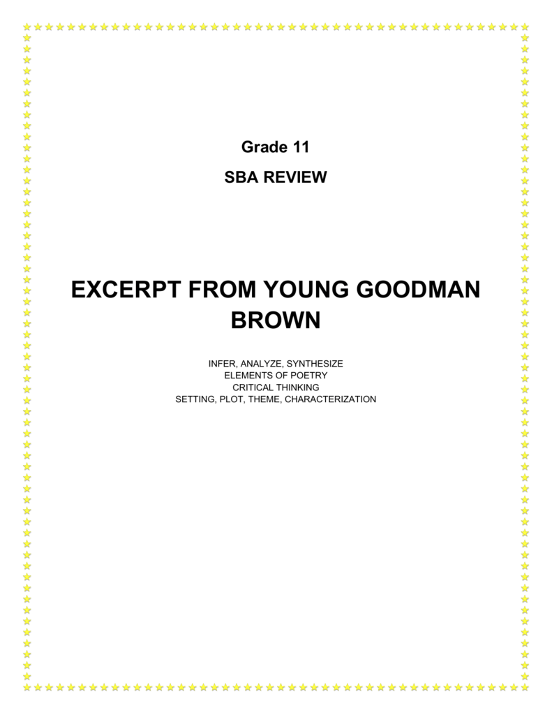 Excerpt From Young Goodman Brown
