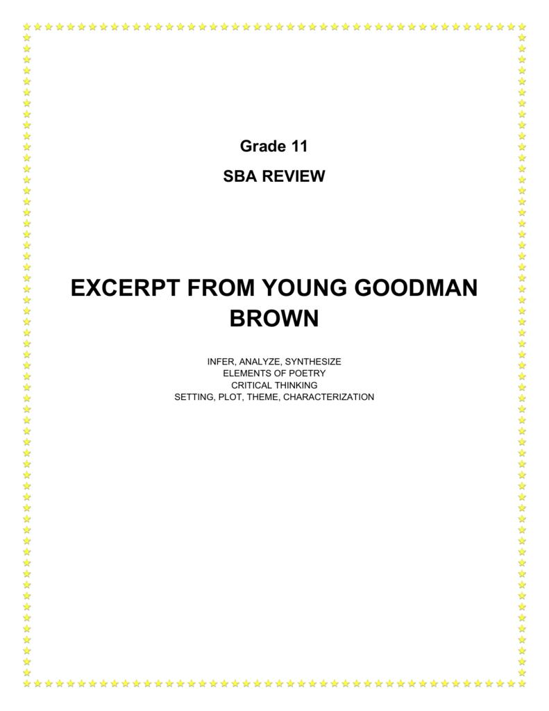 young goodman brown critical analysis