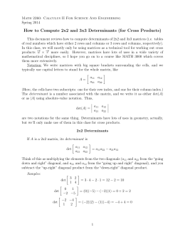 Determinants and computing cross product