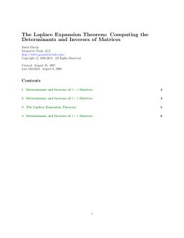 The Laplace Expansion Theorem: Computing the