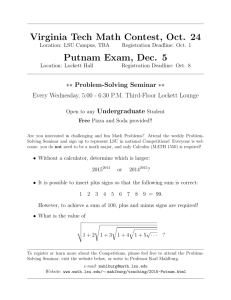 Virginia Tech Math Contest, Oct. 24 Putnam Exam, Dec. 5