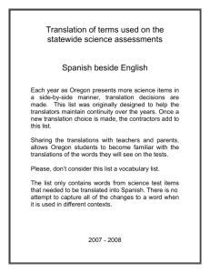 Translation of terms used on the statewide science assessments