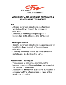 WORKSHOP AIMS, LEARNING OUTCOMES & ASSESSMENT
