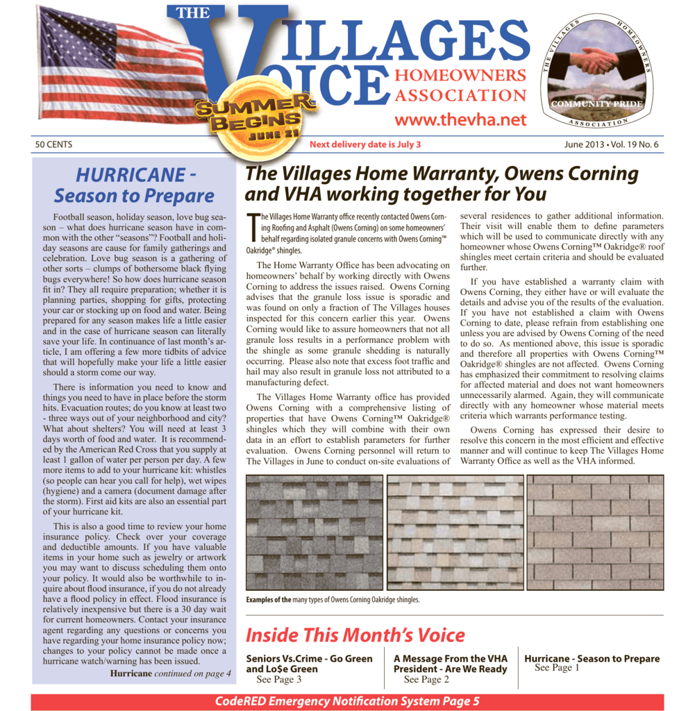 The Villages Home Warranty, Owens Corning and VHA working