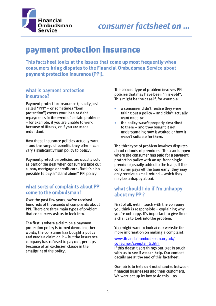 Payment Protection Insurance Factsheet