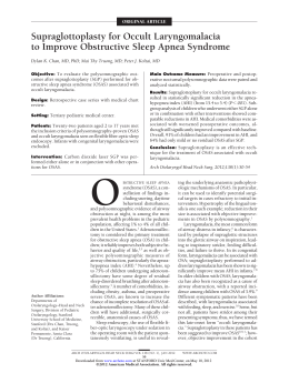 Supraglottoplasty for Occult Laryngomalacia to Improve Obstructive