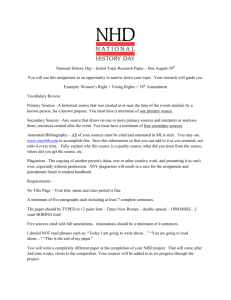 National History Day – Initial Topic Research Paper – Due August