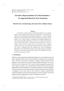 Towards a Representation of Verbal Semantics