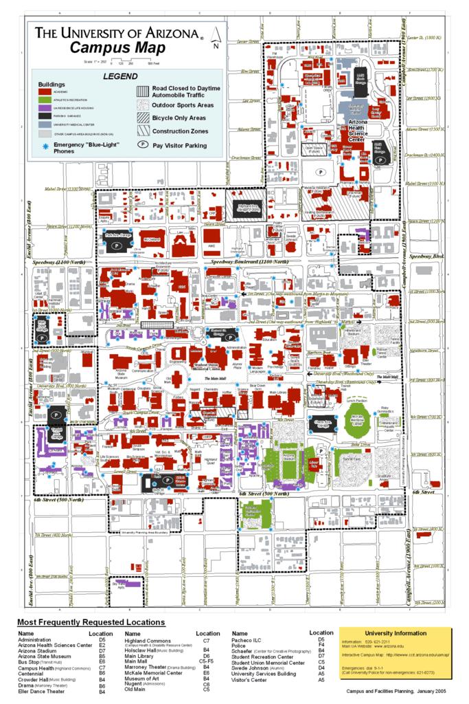 Map University Of Arizona.University Of Arizona Campus Map