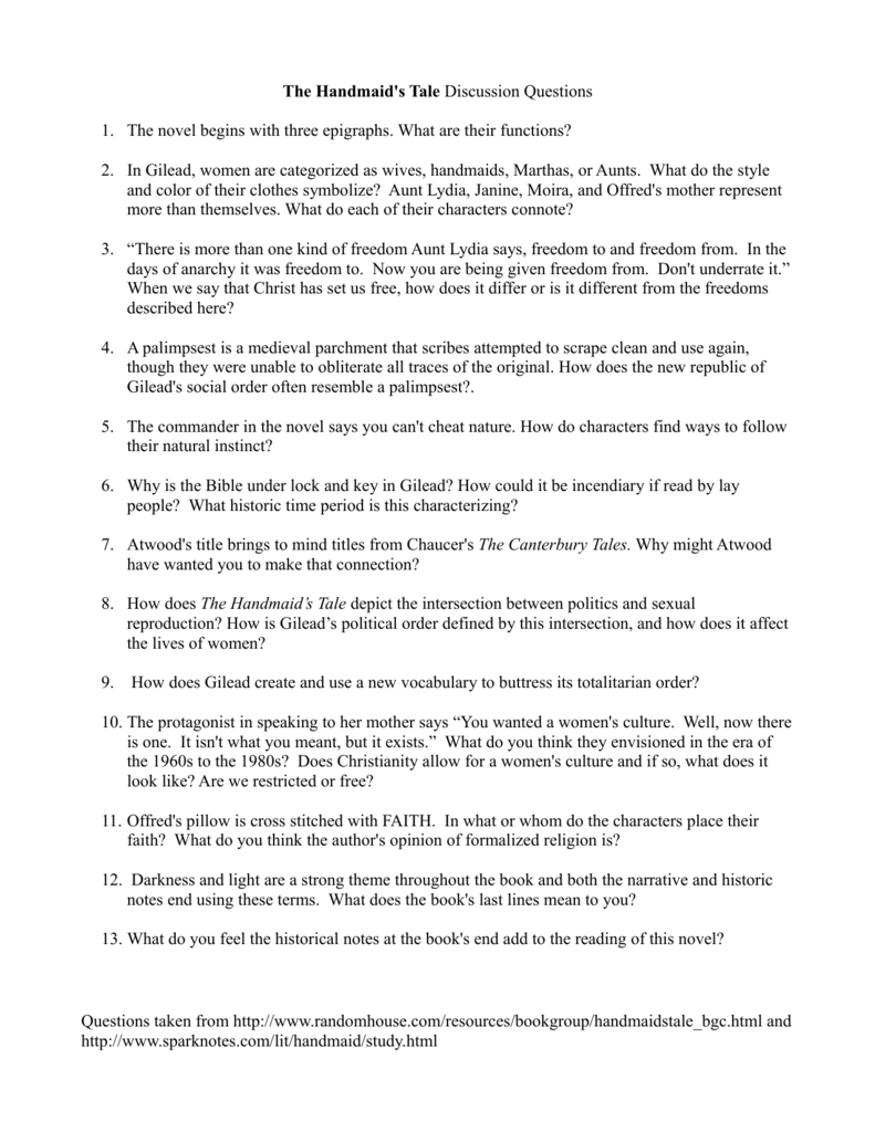 The handmaids tale discussion questions 1 the novel begins buycottarizona