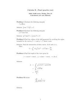 Calculus II , Final (practice test)
