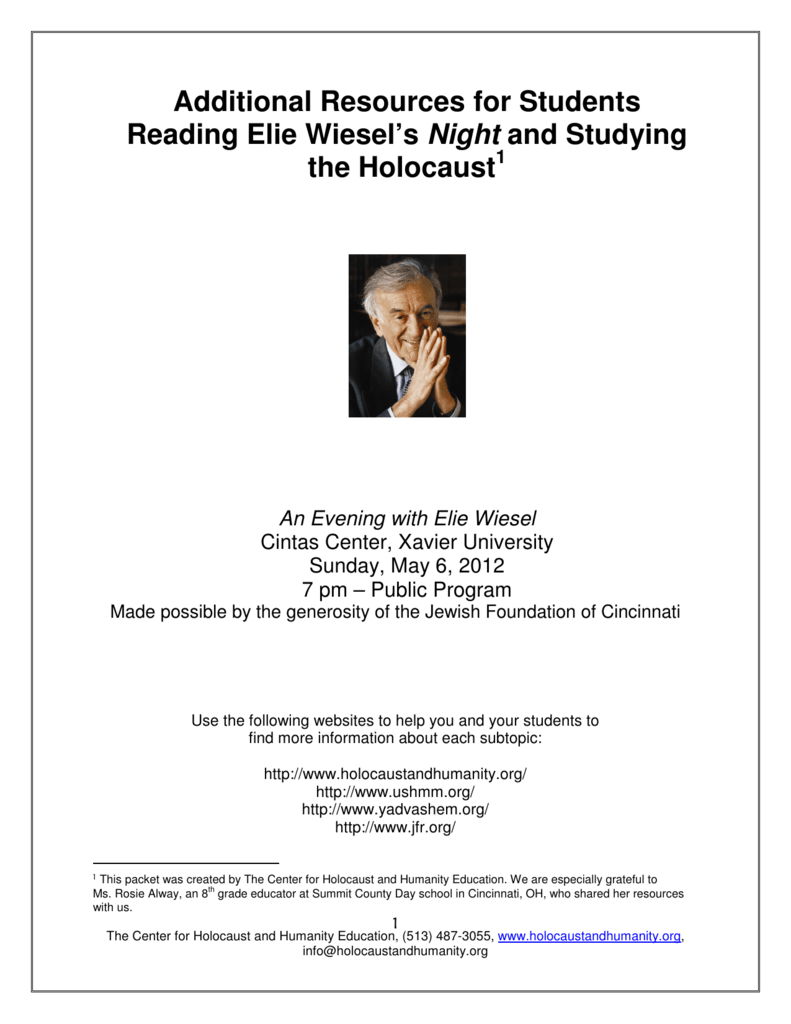 Additional Resources For Students Reading Elie Wiesels Night And