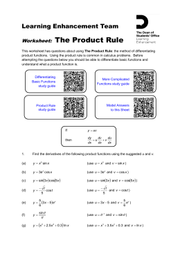 The Product Rule worksheet - Portal