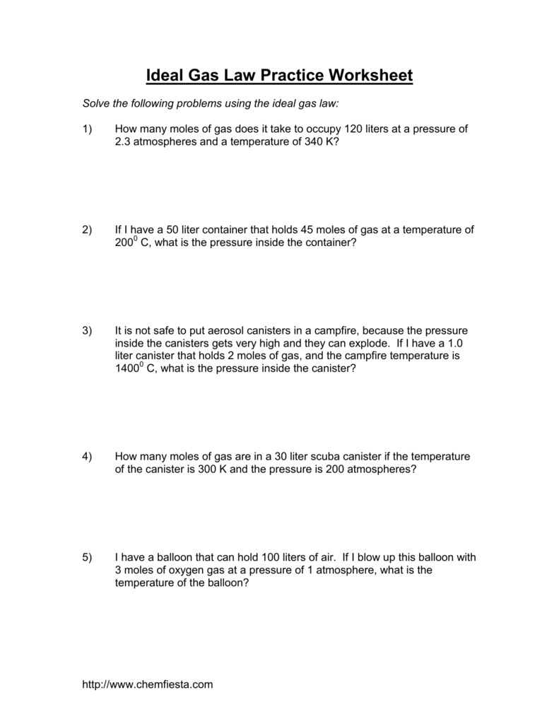 Ideal Gas Law Practice Worksheet – Ideal Gas Law Worksheet
