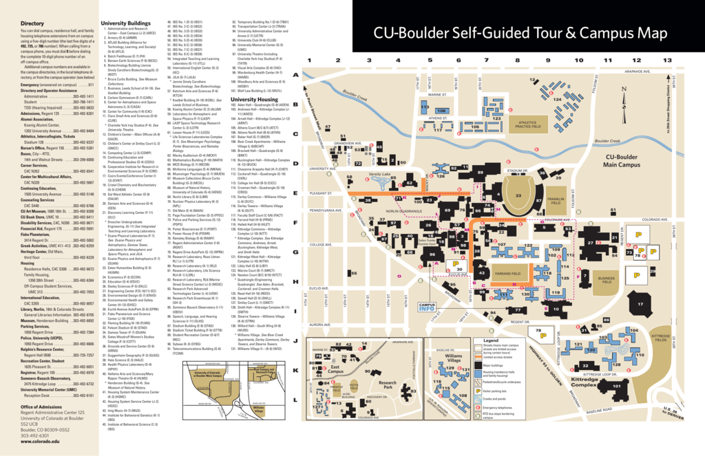 Umc Campus Map.Cu Boulder Self Guided Tour Campus Map