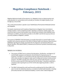 Magellan Compliance Notebook – February, 2015