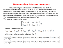 Heteronuclear Diatomic Molecules