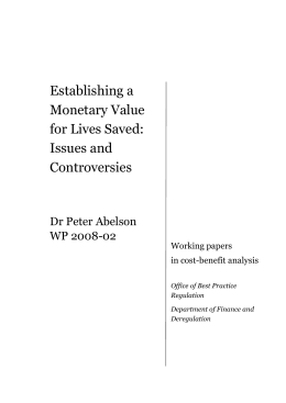 Establishing a Monetary Value for Lives Saved: Issues and