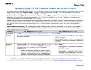 Definition of HQLAs: U.S. LCR Proposal vs. European Banking