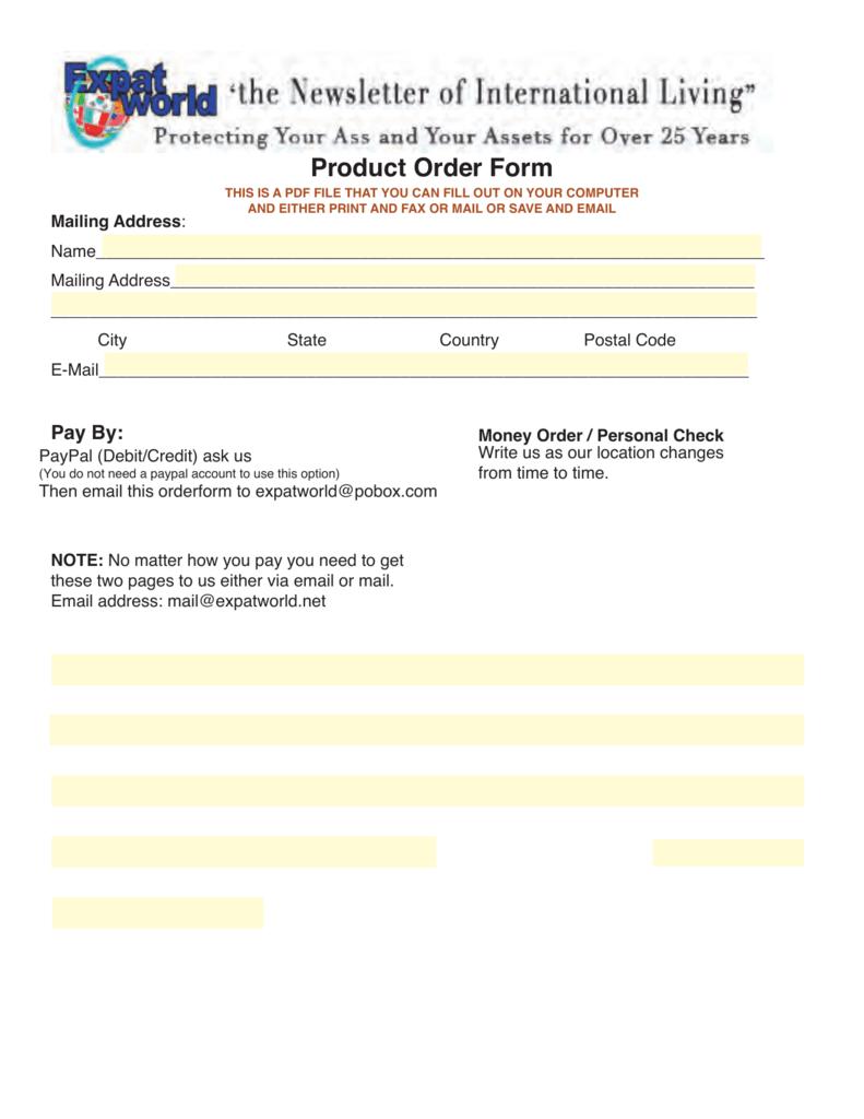 completed order form