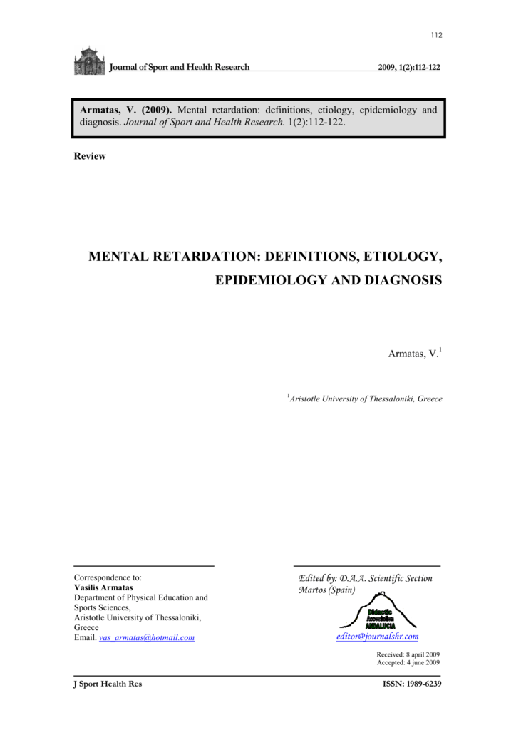mental retardation: definitions, etiology, epidemiology and