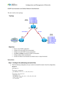 Chapter 2 Lab 2-3, EIGRP Summarization and Default Network