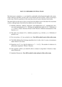 MAT C15: REMARKS ON FINAL EXAM The final exam is cumulative