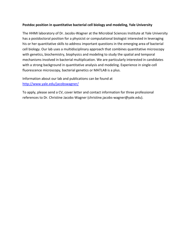 Postdoc position in quantitative bacterial cell biology and