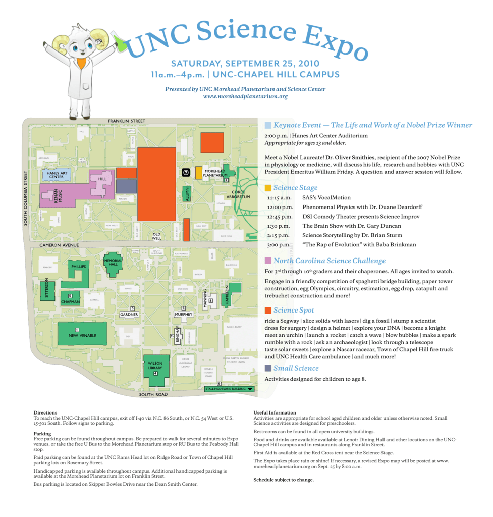UNC Science Expo schedule and map