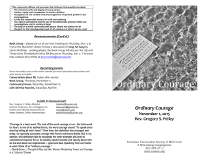 Ordinary Courage - Unitarian Universalist Society of Mill Creek