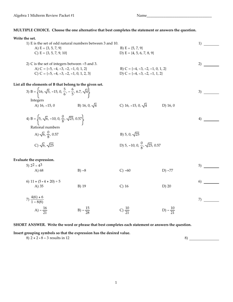 Algebra 1 Midterm Review Packet #1