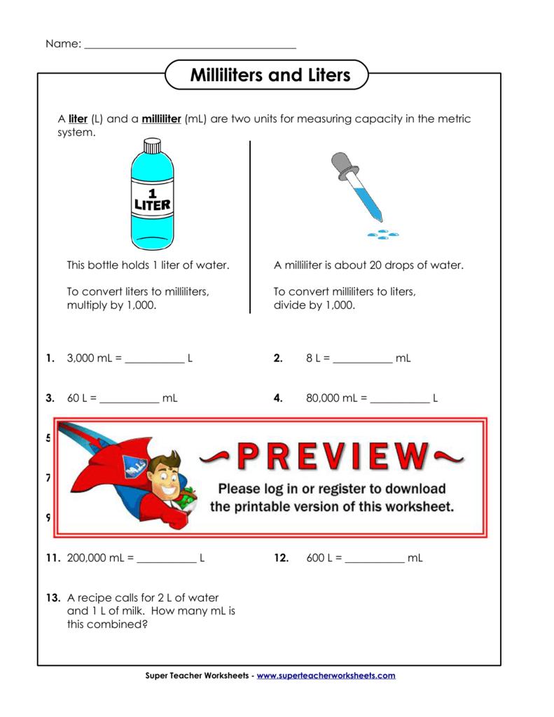Milliliters and Liters - Super Teacher Worksheets