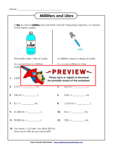 Milliliters and Liters - Super Teacher Worksheets