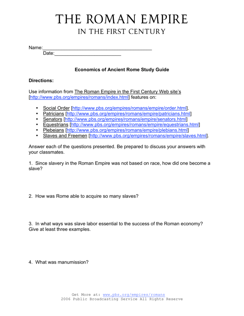 Uncategorized Ancient Rome Worksheets economics of ancient rome study guide pdf