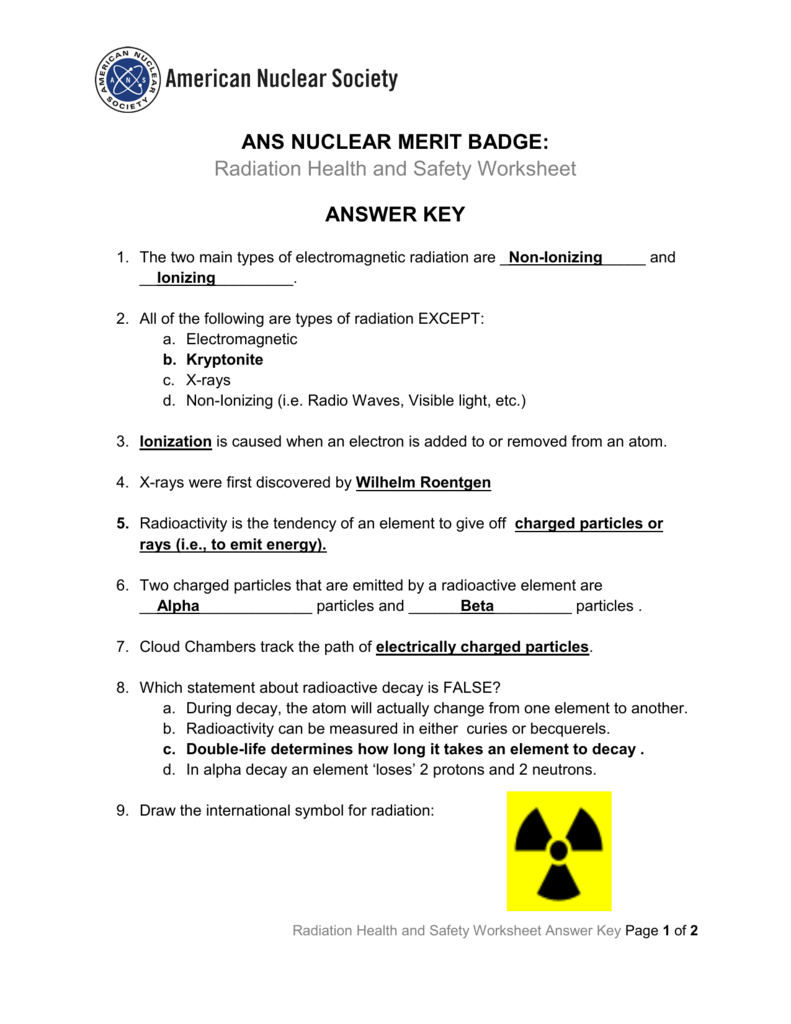 Radiation Health And Safety Worksheet Answer Key