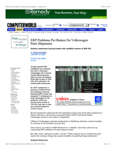 ERP Problems Put Brakes On Volkswagen Parts Shipments