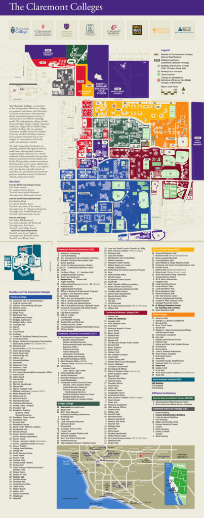 Claremont Colleges Map Map of Claremont Colleges   Claremont University Consortium