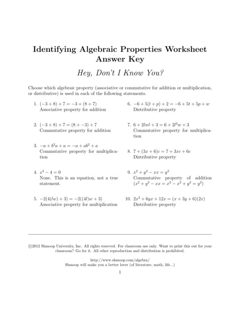 Identifying Algebraic Properties Worksheet Answer Key
