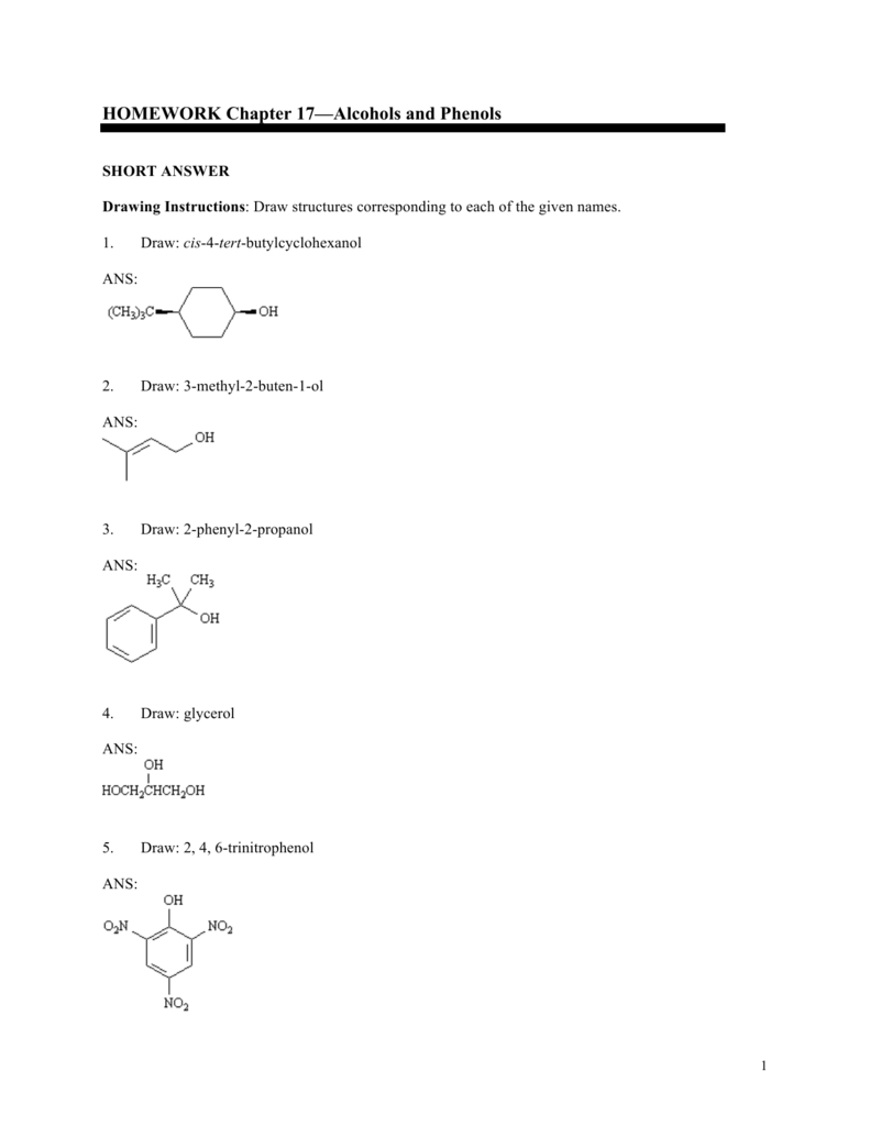 Homework Chapter 17alcohols And Phenols