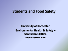 Food Safety Presentation - University of Rochester