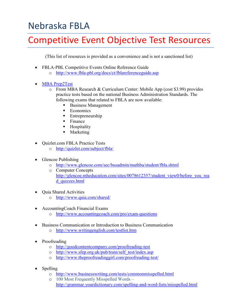 Objective Tests Online Resources