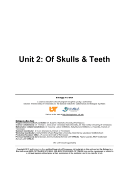 Unit 2: Of Skulls & Teeth - University of Tennessee