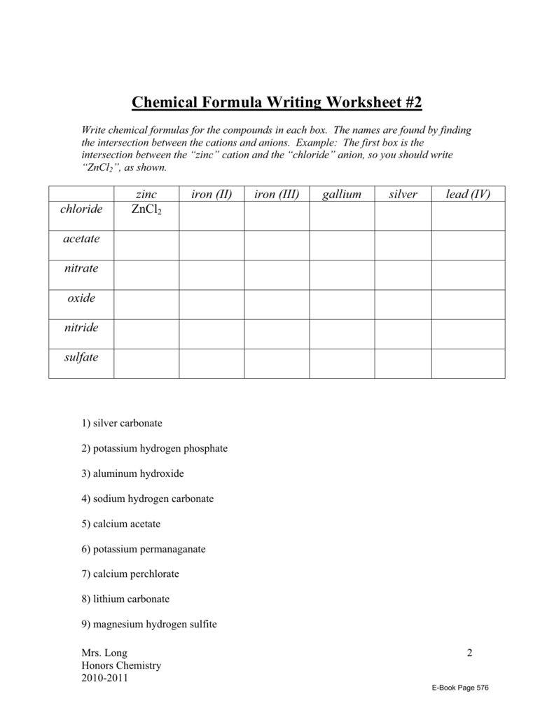 Chemical Formula Writing Worksheet #2