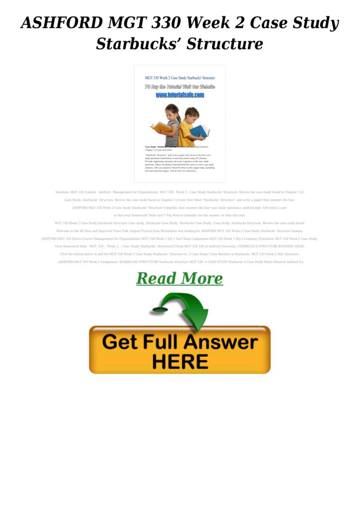 ASHFORD MGT 330 Week 2 Case Study Starbucks' Structure PDF