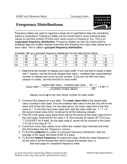 Frequency Distributions - VCC Library