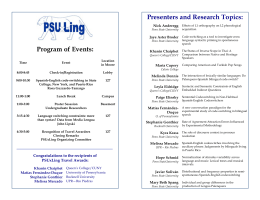 Program of Events: Presenters and Research Topics: