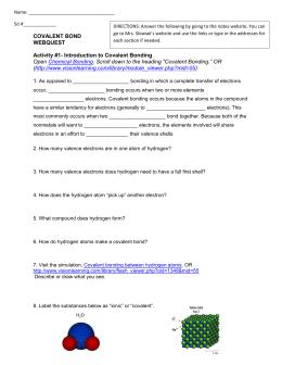 Covalent Bonding Webquest