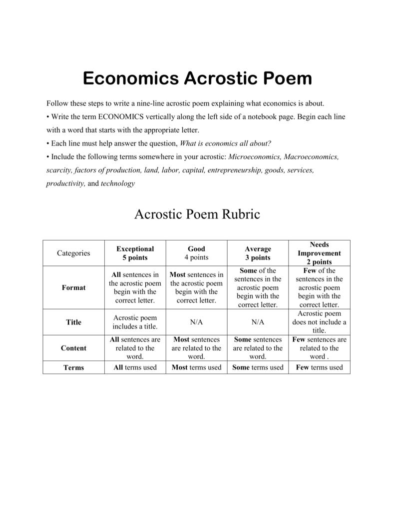 economics acrostic poem