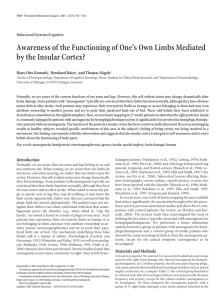Awareness of the Functioning of One's Own Limbs Mediated by the