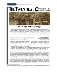 Collected Commentary, economic prosperity in the 1920s